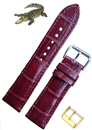 Correa de reloj de piel de cocodrilo hecha a mano, correa de piel de cocodrilo de repuesto por Vietnamese Craftman, 18 mm, 19 mm, 20 mm, 21 mm, 22 mm, 24 mm 20mm rojo