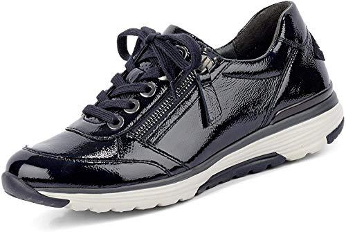 Gabor Comfort 36.973 Damen Schnürschuh aus Lackleder mit Reißverschluss leicht, Groesse 39, blau