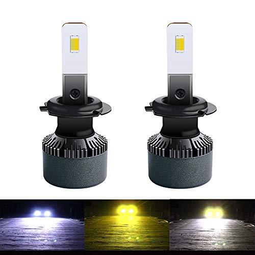 Kit de bombilla de autos H1 H1 Three Color Lights Material de aluminio impermeable 10000LM Luz LED Faros de coche Linterías adecuadas para motores generales (1 par)