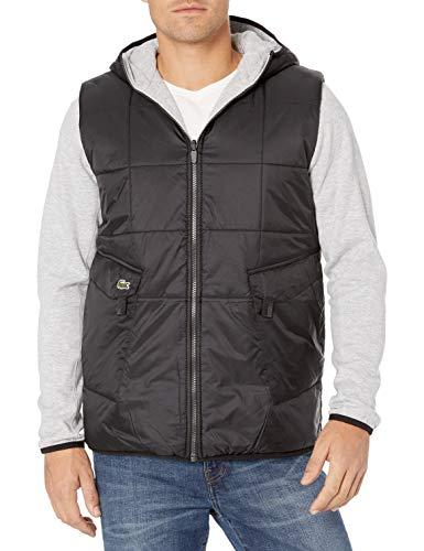 Lacoste Mens Sport Long Sleeve Reversible Cargo Pocket Short Parka Jacket, Black/Silver Heathered, L/XL