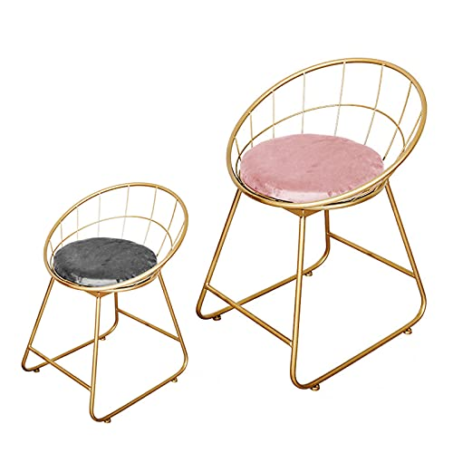 Sillón Lounge Cojín de Esponja de Franela Silla en Rosa Suave con Patas de Metal Silla de Comedor Asiento cómodo en un diseño de Dormitorio nórdico