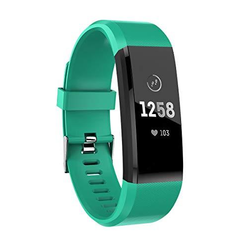 ATETION Pulsera de Actividad Inteligente, Impermeable Reloj Inteligente con Pulsómetro Podómetro Calorias Monitor de Sueño, Pulsera Actividad Smartwatch para Mujer Hombre Niños (Verde)