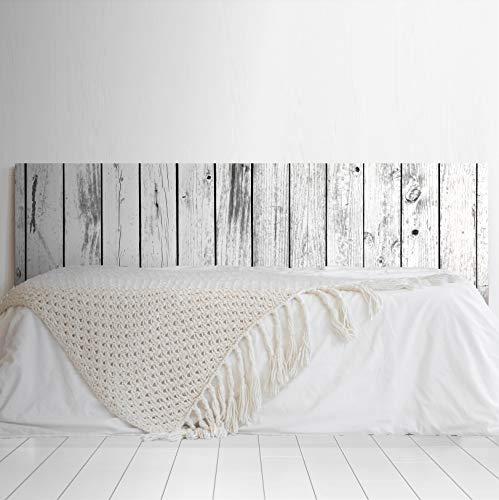 Megadecor Tête de lit en PVC Décorative et économique Impression texture bois avec planches vieillies verticales Blanc et noir