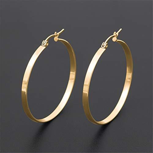 Stainless Steel Hoop Earrings For Women Round Circle Hoop Earring Pop Ear Jewelry 60mm Black Color