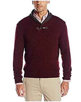 Haggar Men s Long Sleeve Contrast Shawl Collar with Toggle Sweater Burgundy Large