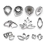 AK ART KITCHENWARE Lot de 10 emporte-pièces en acier inoxydable pour fondant, pâte à modeler des fleurs pour décorer des gâteaux