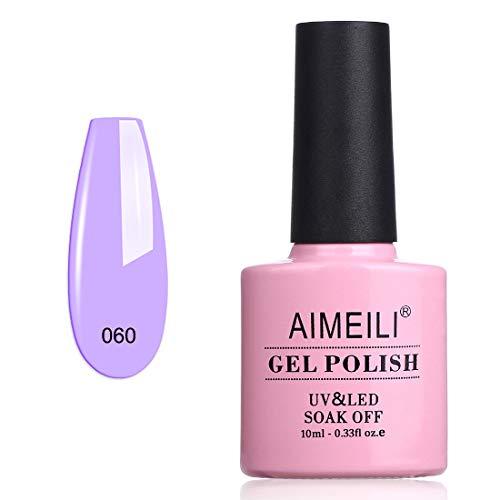 AIMEILI Soak Off UV LED Vernis à Ongles Gel Semi-Permanent Violet Gel Polish - Lavender (060) 10ml