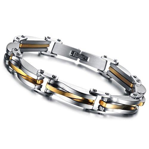 Cupimatch Königskette Armband Herren Edelstahl Biker Armband, Rechteck Armketten Fahrradkette Motorradkette Hochglanz Poliert Rock Armreif 22cm, Silber