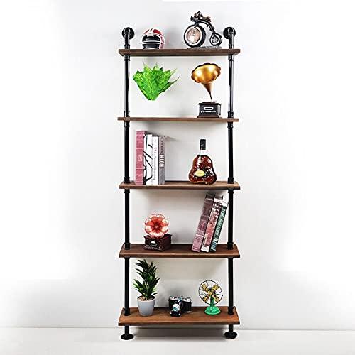 NOBLJX Estante de la tubería de Hierro de Montaje en Pared Industrial, estantes de Libros de Madera Retro Vintage, estanterías de Almacenamiento de Bricolaje para Colgantes de Pared, Cocina de Granja