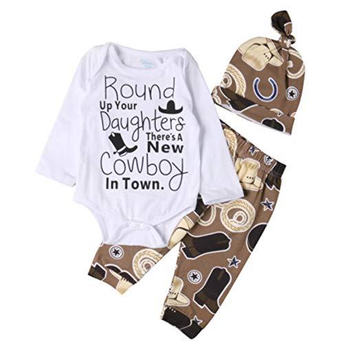 Cute 3pcs Newborn Infant Baby Girl Boy Long Sleeve O-Neck Bodysuit+Cowboy Long Pants Hat Outfit Set Clothe,White,6M