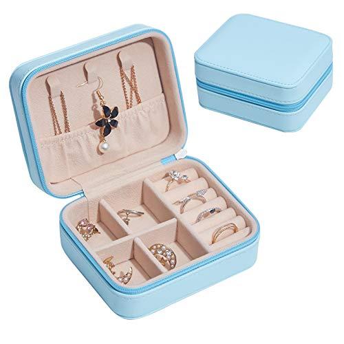 Organizador de joyas Caja Joyero Joyero DeJoyero Mujer Pendientes Portátiles Pendientes Pendientes Anillo Caja De Almacenamiento De Joyería De Mano 11*9*9cm Azul claro