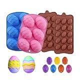 Dunmo 4 moldes de silicona para huevos de Pascua, forma de huevo de silicona, reutilizables, hechos a mano, para decoración de cocina, fiesta, para galletas, chocolate, dulces, etc