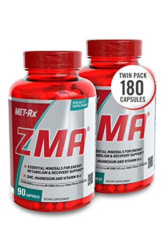 MET-Rx ZMA Supplement, with Zinc and Vitamin B-6, Supports Muscle Recovery, 90 Capsules, 2 Pack (180 Total)