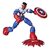 Hasbro Marvel Avengers Bend and Flex, action figure flessibile Captain America Falcon da 15 cm, bambini dai 4 anni in su
