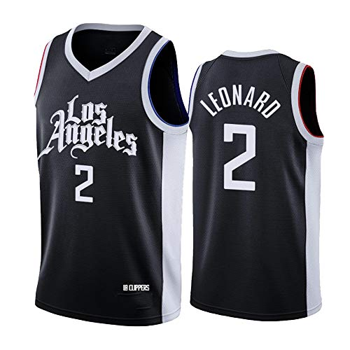 Dybory Camiseta de baloncesto para hombre, NBA Los Angeles Clippers 2# Leonard, chaleco sin mangas, cómodo, ligero, transpirable, unisex, color negro, XXL