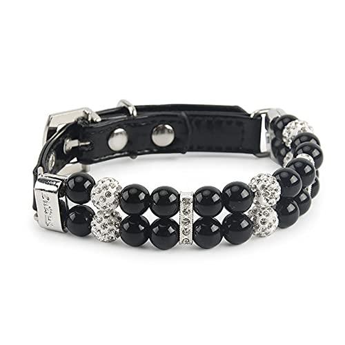 Collar de Perlas para Perros Collar de Perro de Cuero de PU Perlas Artificiales Collares para Mascotas de Diamantes de imitación para Perros pequeños Collar, Negro, S