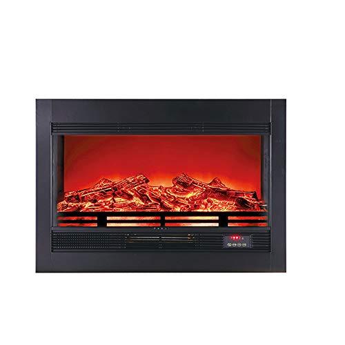 HONG Chimenea PequeñA Chimenea EléCtrica Horizontal De Pared, con Termostato Brillo Temperatura Ajustable 750w/1800w Efecto Leña Ardiendo