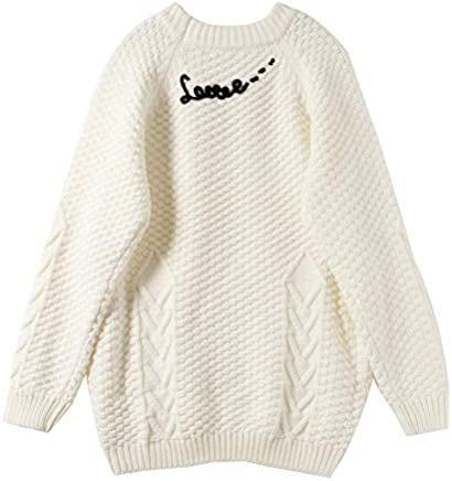 JIAKENVDE Winter Twist Letter Wind Knit Top College Wind White Thick Needle Loose Sweater