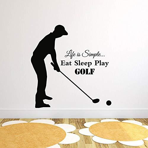 FXBSZ Anpassbare Größe Vinyl Wandtattoos Home Decoration Kunst Aufkleber Leben ist einfach essen Schlaf spielen Golf Zitate Sport Wandtattoos Weinrot 70cm x 72cm