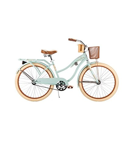 Huffy 24' Women's Nel Lusso Cruiser Bike, 54576, Mint, Wire Basket