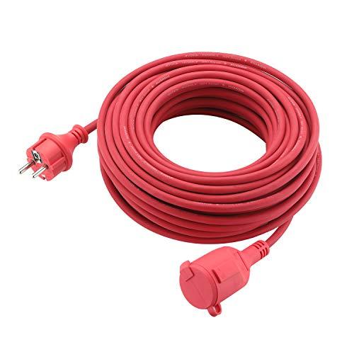 Verlängerungskabel Schuko Verlängerung Gummi Kabel für den Außenbereich IP44 H05RR-F 3G 1,5mm (20M, Rot)