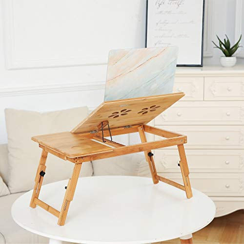 100% Bamboo Portable Laptop Tray Foldable Workspace Organizers Lap Desks Office School Lapdesks Laptop Computer Stands Console & Sofa Tables Workstations for Sofa, Bed, Eating, Working