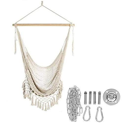 DYC Hamaca colgante de seguridad de cuerda de algodón con borla para adultos al aire libre, jardín, dormitorio