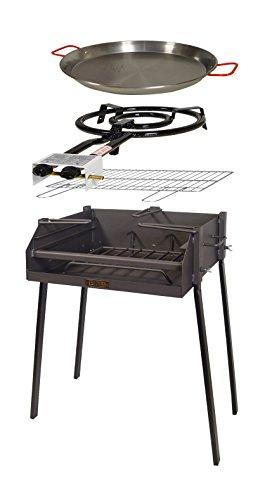 IMEX EL ZORRO 71589 Kit Barbacoa Cuadrada, Negro, 60x40x75 cm