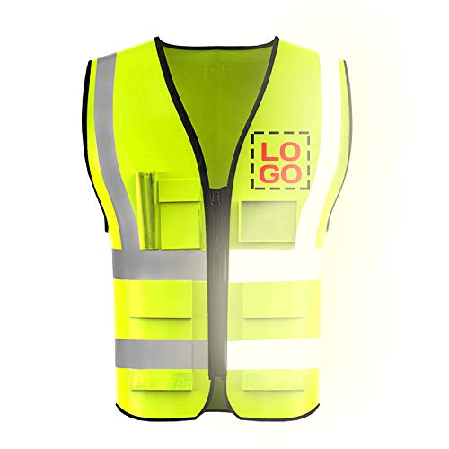 Big Size High Visibility Reflective Safety Vest Customize Logo Protective Workwear Outdoor Work Vest 100~300 lb (Neon Yellow (3XL))