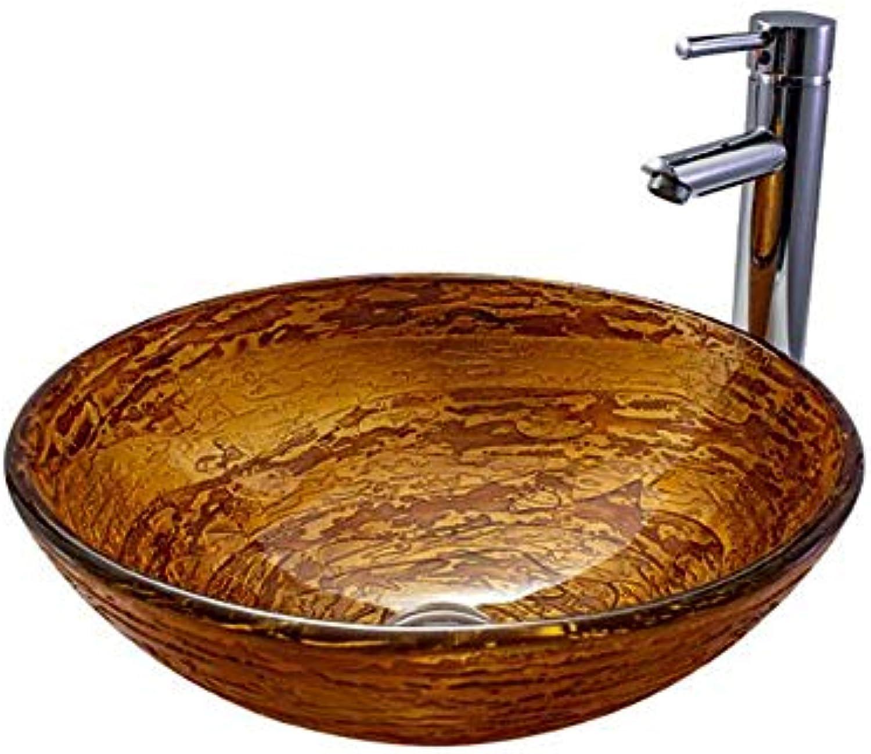 GongDi Waschpltze Becken Waschbecken Bad gehrtetes Glas Waschbecken Runde Kunst Becken Hotel Wohnung Badezimmer Waschbecken 42  14