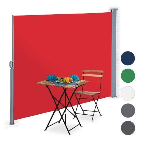 Relaxdays Toldo Lateral Extensible, Protección Solar UV, Pantalla de privacidad, 180x300 cm, Rojo