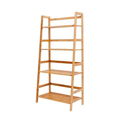 JCNFA Planken Boekenkast Ladder Plank Wandframe Display Kast Verstelbare Planken Bestand Organisator Rack,voor Woonkamer 22.63 * 12.20 * 47.04in Bamboo Wood