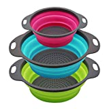Qimh Collapsible Colander Set of 3 Round Silicone Kitchen Strainer Set - 2 pcs 4 Quart and 1 pcs 2...