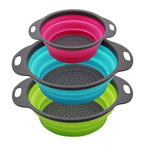 Qimh Collapsible Colander Set of 3 Round Silicone...