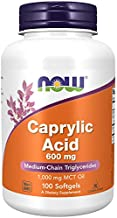 Now Foods Supplements, Caprylic Acid 600 mg, Medium-Chain Triglycerides, 100 Softgels, coconut