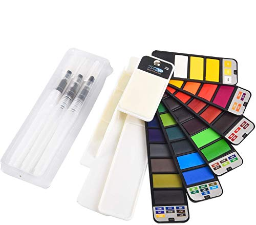 Watercolor Paint Set, 33 Assorted Colors Foldable Painting Kit with 3 Brushes, Portable Travel Pocket Watercolor Field Sketch Set Watercolor Pigment, Art Supplies Painting Gifts for Artists, Adults