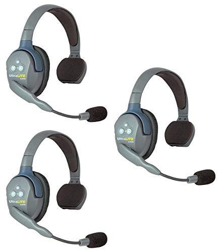 EARTEC UL3S UltraLITE Full Duplex Wireless Headset Communication for 3 Users - 3 Single Ear Headsets