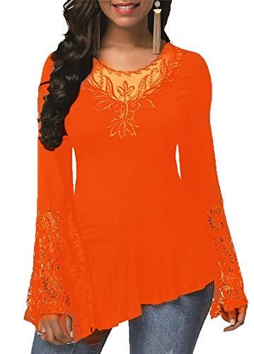 LangäRmliges Spitzen-NäHten-Rundhals-T-Shirt Der Herbstfrauen