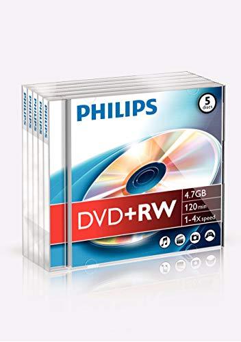 Philips Dvd+rw 4.7 GB DVDRW1S04/600 - Confezione da 5