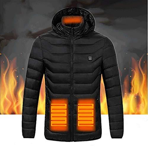 Heizjacke für Herren, elektrische Jacke, beheizt, wasserdicht, Winddichte Winterjacke, Sportjacke beheizbar USB verstellbar für den Winter (Ohne Netzteil) 2XL