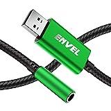 Adattatore per cuffie da 3,5 mm femmina a USB maschio, scheda audio stereo esterna con chip integrato, adattatore da USB a 4 poli per cuffie PS4, laptop PC e altro (verde)