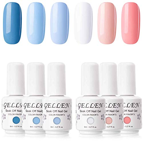 Gellen Gel Nail Polish Set - Blue Peach 6 Colors Series - Popular White Nail Art Colors UV LED Soak Off Nail Gel Manicure Kit