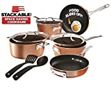Gotham Steel Stackable Pots and Pans Stackmaster 10 Piece Cookware Set with Ultra Nonstick Cast Texture Ceramic Coating, Saves 30% Space, Sauce, Stock, Skillets & More –Dishwasher Safe, Copper