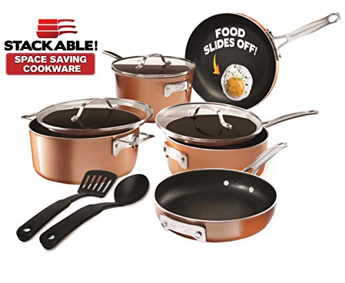 GOTHAM STEEL Cookware Set, 10 Piece, Brown