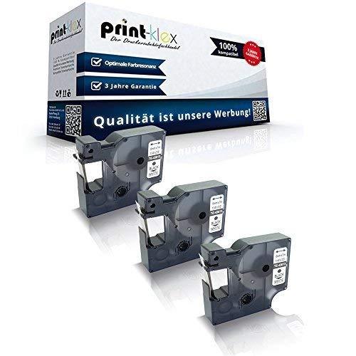 3x Kompatible Schriftbänder für Dymo D1 43613 Labelpoint 250 Labelpoint 300 Labelpoint 350 Labelwriter 400 Duo S0720780 6 mm 6mm Black/White Etikettenband - Office Quantum Serie