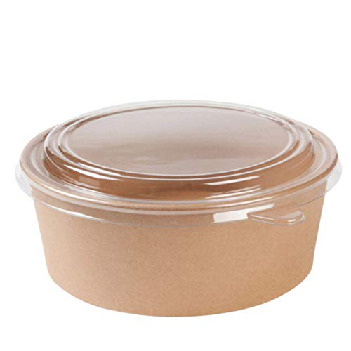Set Envase de cartón ecológico y Bio con tapadera para ensaladas y Comidas frias y Calientes. 50 uds (50, 1000 ml)
