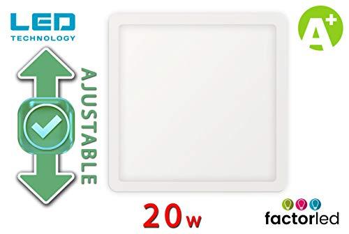 FactorLED Placa LED Cuadrada 20W, Downlight LED Cuadrado, lampara de techo, panel empotrable, diámetro ajustable de 50mm a 210mm, Iluminación de interior, drivers incluidos (Luz Fría (6000K))