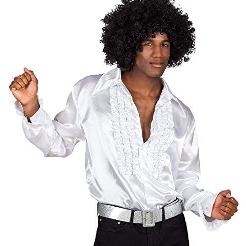 Boland 02108 – Chemise Disco avec Volants, Blanc, Taille XL/54-56, pour Homme, Costume de fête, t-Shirt de Basse, années 70, fête à thème, Carnaval
