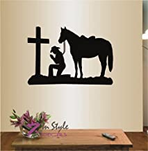 In-Style Decals Wall Vinyl Decal Home Decor Art Sticker Cowgirl Praying Kneeling Cross Horse Western Bedroom Living Room Removable Stylish Mural Unique Design 448