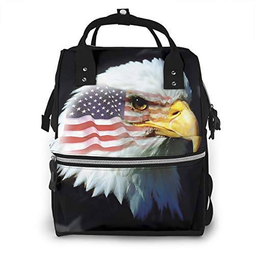 Decorative American Flag Patriotic Eagle Baby Diaper Bag Backpack,Multi-Function Waterproof Large Capacity Travel Nappy Bags For Mom